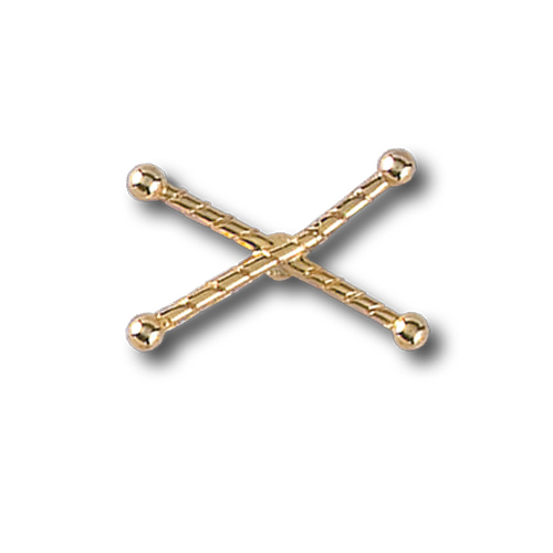 Crossed Batons Pinsert, Gold