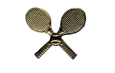School Pin Awards Incroci di racchetta da tennis in metallo dorato  Tennis Racquet Crosses Gold Metal Insert