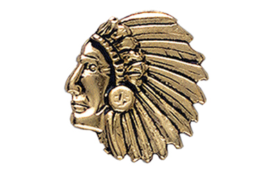 Indian Chief Head Pin, Gold Tone Metal