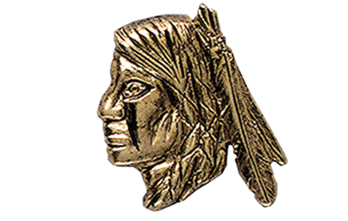 Indian Brave Head Pin, Gold Tone Metal