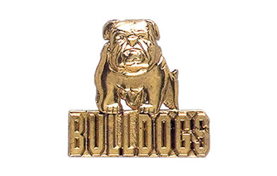 Bulldog with Bulldogs Pin, Gold Tone Metal