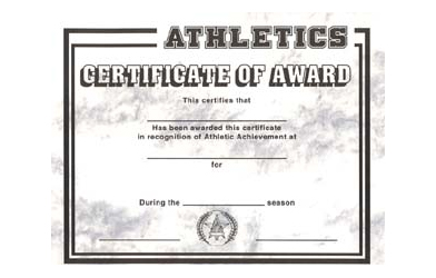 stock athletic certificate