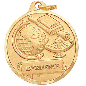 Excellence Globe & Lamp Medal 1 1/4