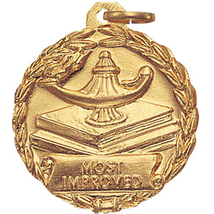 Most Improved Lamp & Books Medal 1 1/8