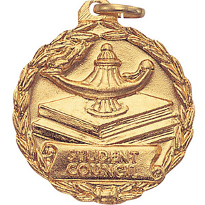 Student Council Lamp & Books Medal 1 1/8