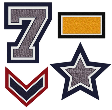 Chenille Stars, Bars, Chevrons and Single Numbers