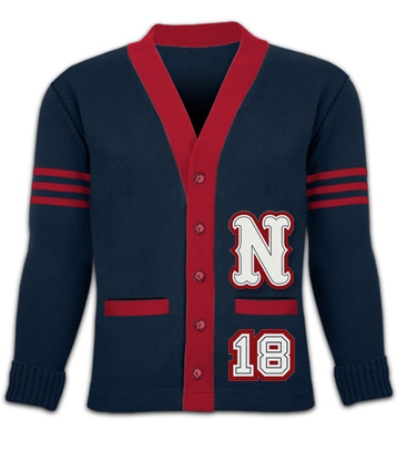 school sweater with both sleeve stripes