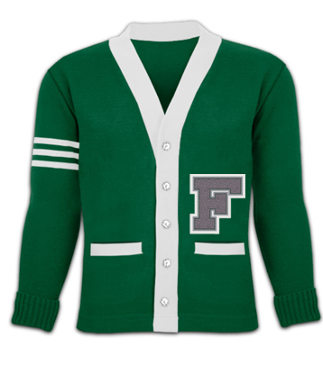 school sweater with right sleeve stripes